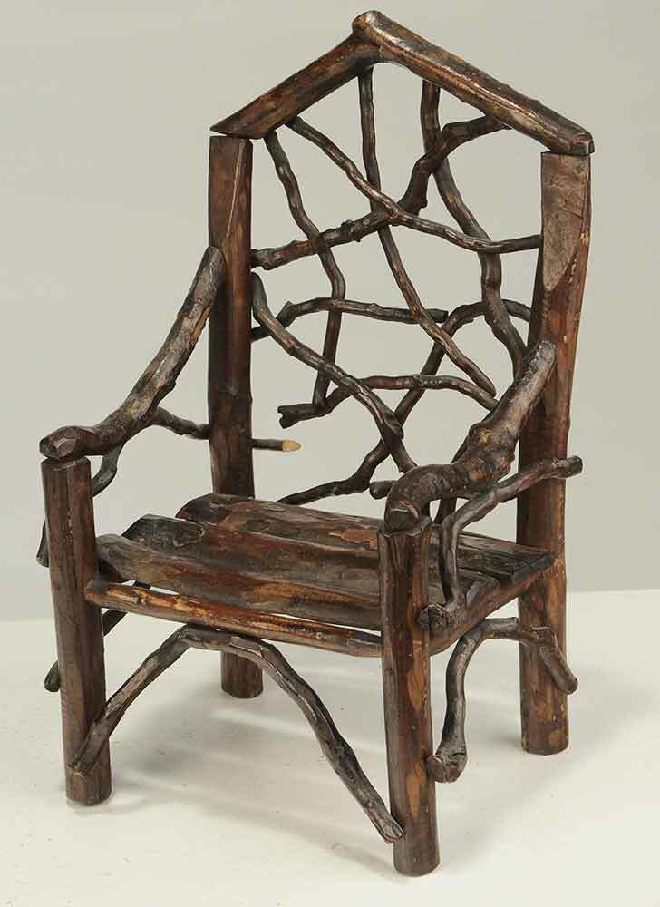 Four Pieces Of Miniature Rustic Twig Furniture