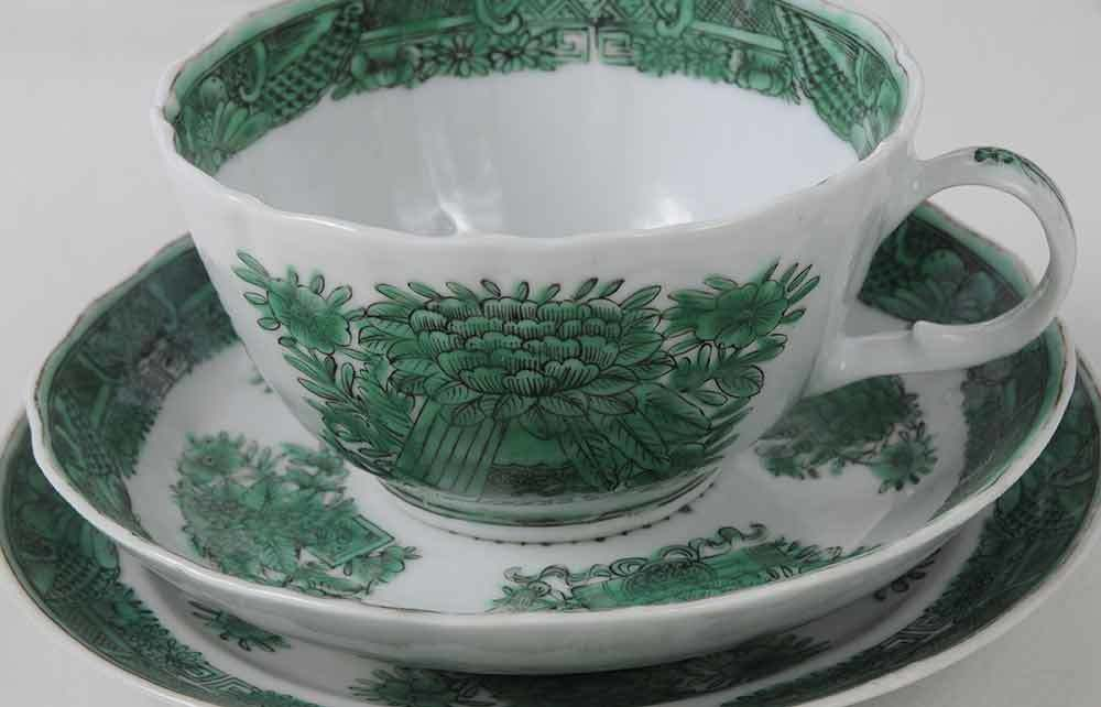 Set 2 Chinese Export Cup and Saucer in Fitzhugh Green