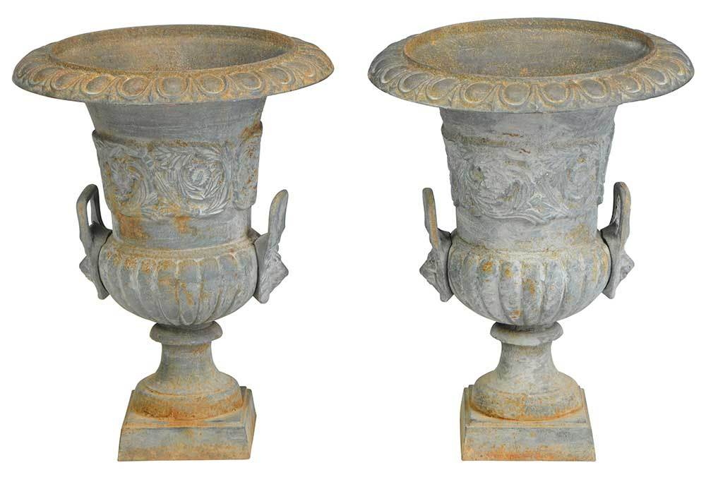 Pair Neoclassical Style Cast Iron Garden Urns