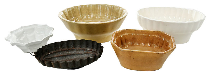 Five Pottery and Tin Culinary Molds
