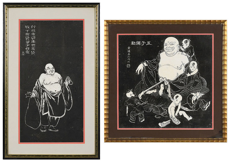 Two Chinese Wood Block Prints of Buddhas
