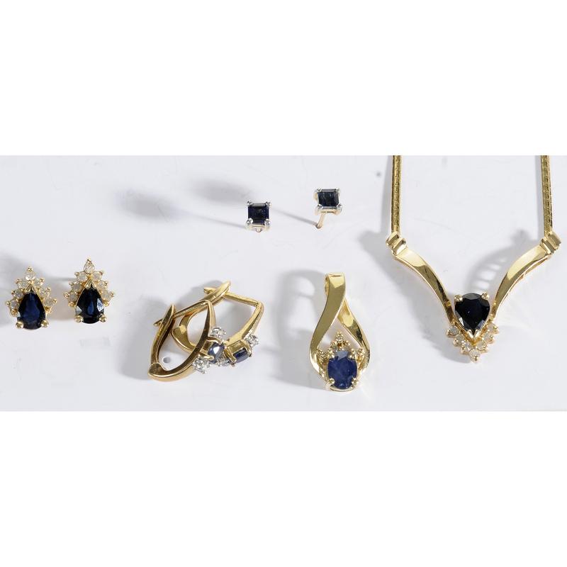 Group of Gold, Sapphire & Diamond Jewelry