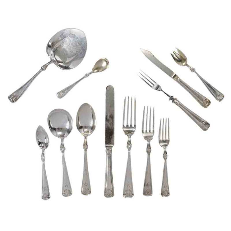 Gorham Shell Silver-Plate Flatware, 410 Pieces