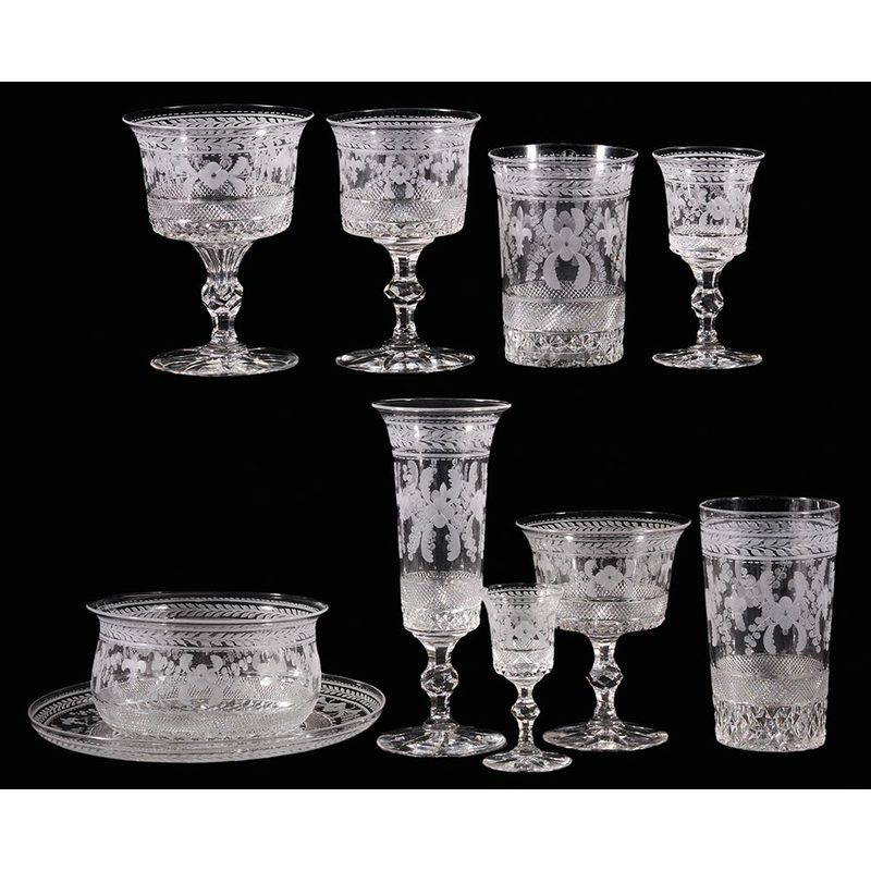Ten Hawkes and Edenhall Cut Glass Table Items