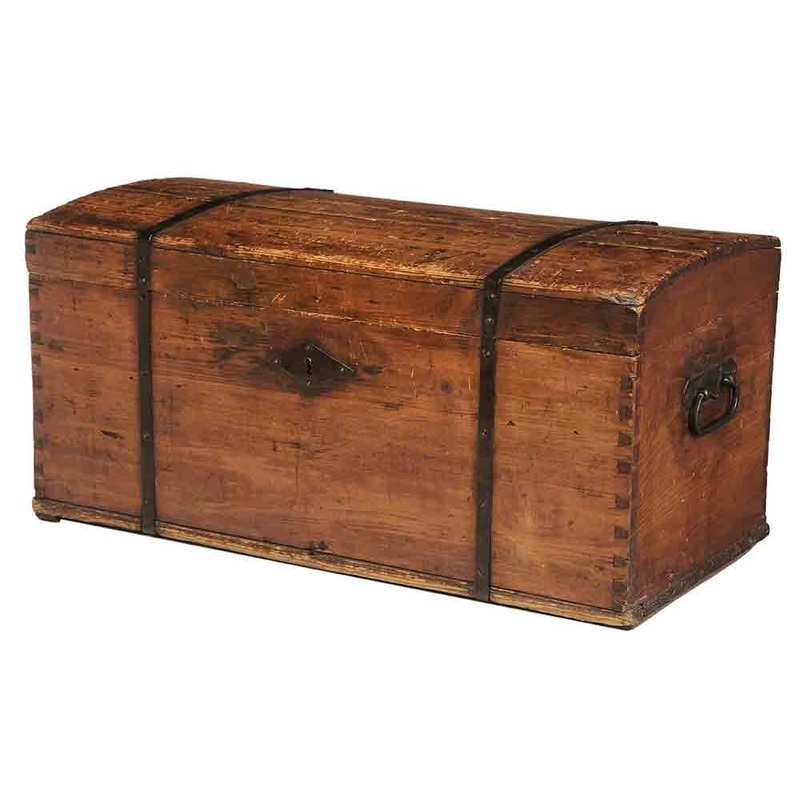 Iron Mounted Pine Dome Top Trunk
