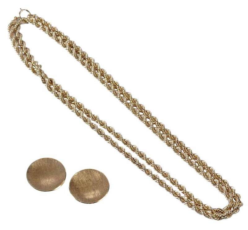 Gold Earclips & Necklace