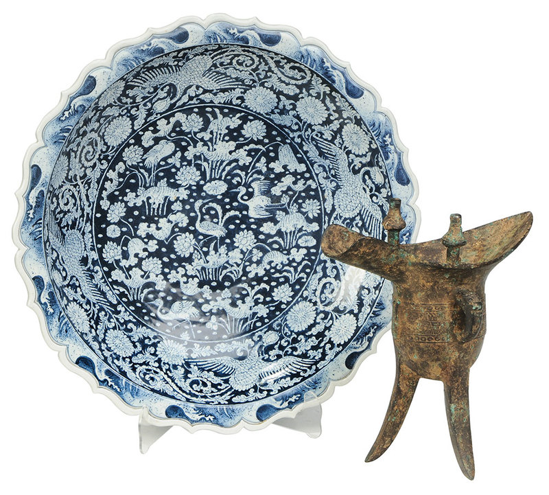 Bronze Wine Vessel and Blue and White Charger