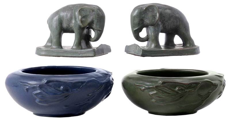 Art Pottery Elephant Bookends, Two Low Bowls