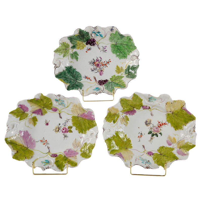Three Chelsea Porcelain Grape-Leaf Dishes