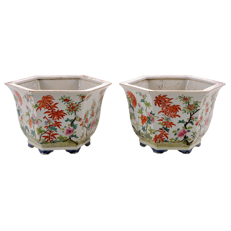 Pair Chinese Famille Verte Planters