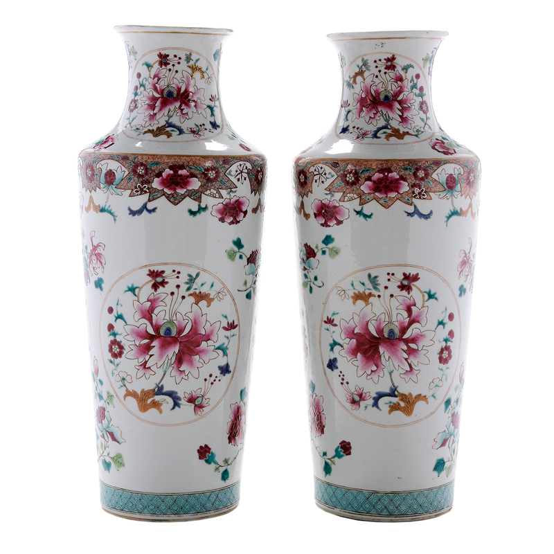 Pair Chinese Export Famille Rose Porcelain Large Vases