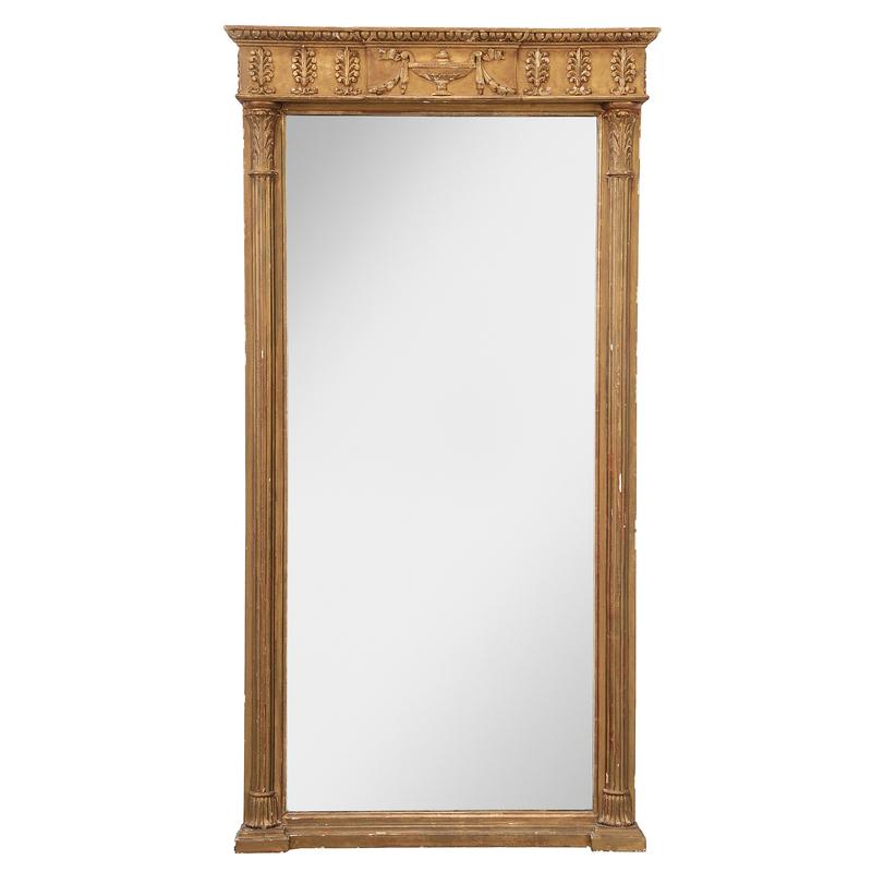 Regency Carved, Gessoed and Gilt Wood Mirror
