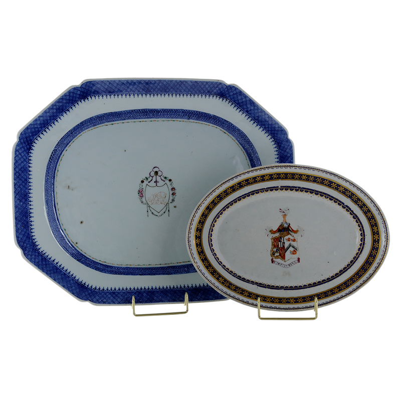 Two Chinese Export Porcelain Armorial Platters