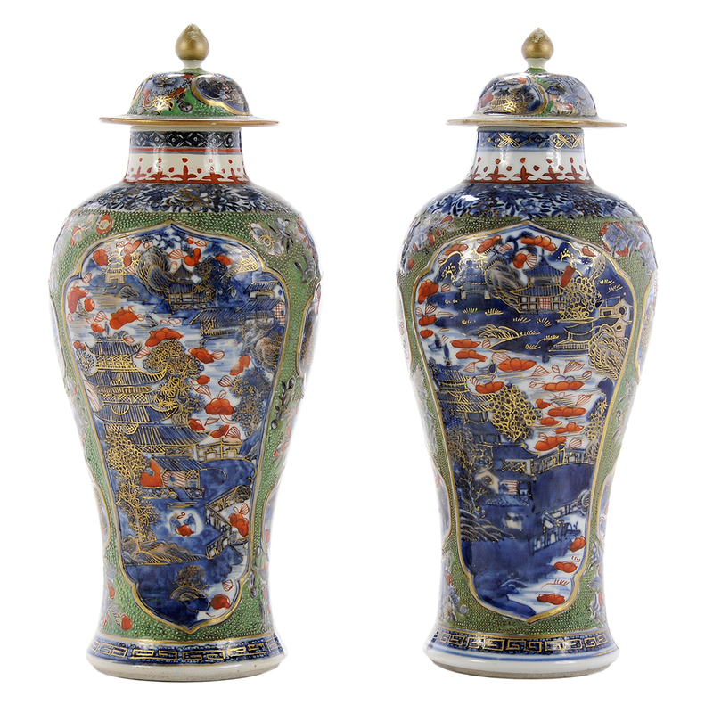 Pair Chinese Export Porcelain Vases and Covers