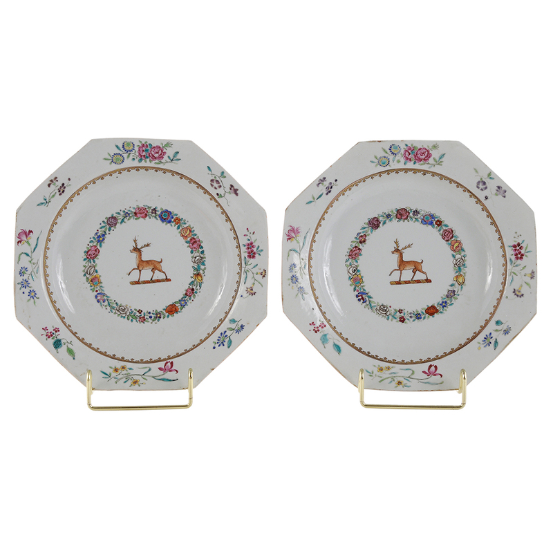 Pair Chinese Export Porcelain Soup Plates