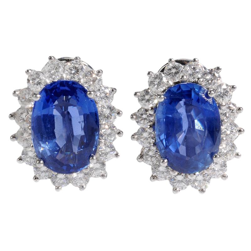Platinum, Sapphire & Diamond Earclips*