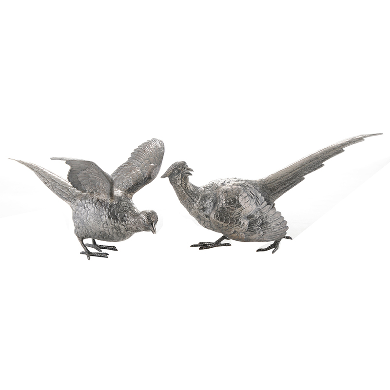 Pair English Silver Pheasants