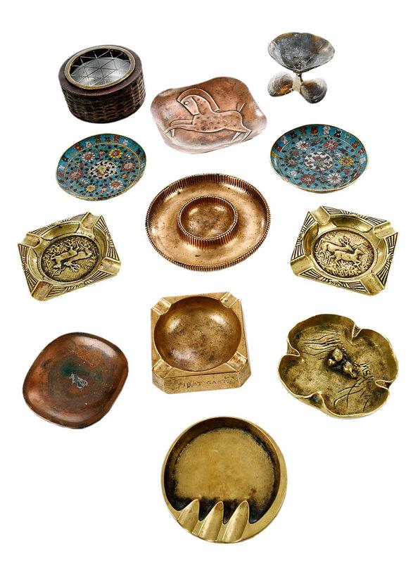 Twelve Pieces Cast Bronze and Metal Ashtrays