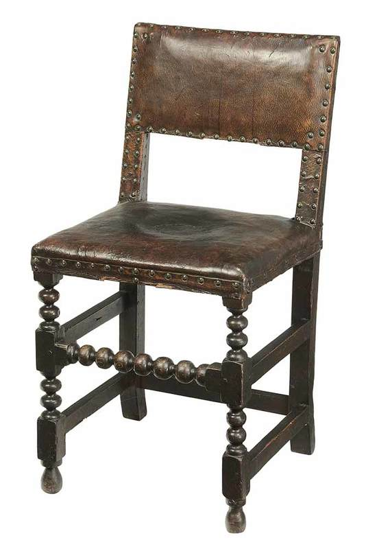 Charles I Leather Upholstered Side Chair