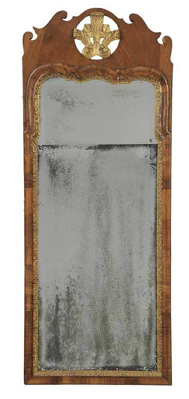 George I Parcel Gilt Walnut Mirror