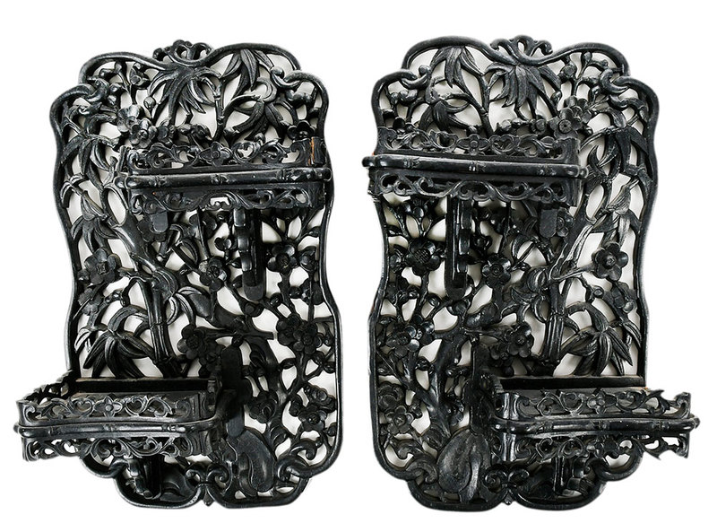 Two Chinese Carved Wood Wall Brackets
