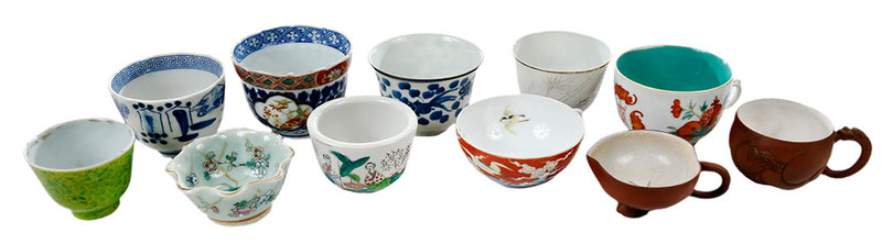 11 Asian Tea Cups with Assorted Carved Stands