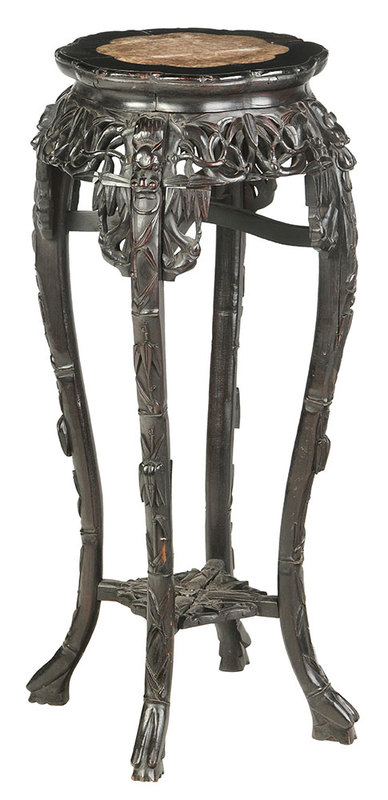 Carved Chinese Marble Top Stand