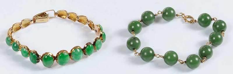 Two 14kt. Hardstone Bracelets