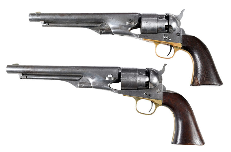 Two Colt Civilian Model 1860 Single Action Revolvers with Case