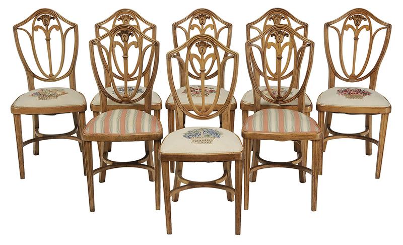 Set of Eight HepplewhiteStyle Dining Chairs