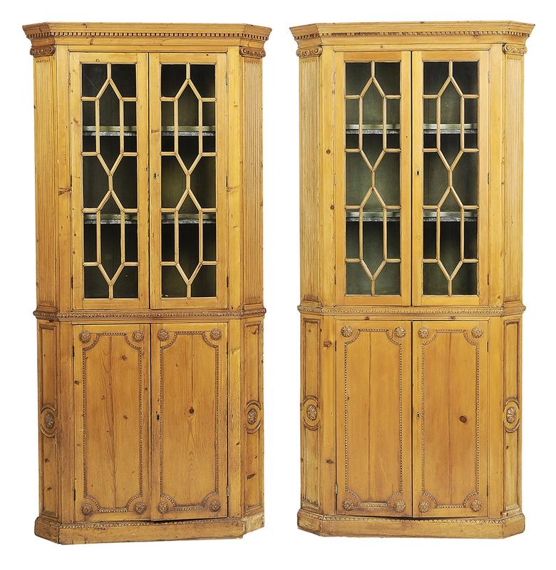 Pair George III Carved Pine Corner Cupboards
