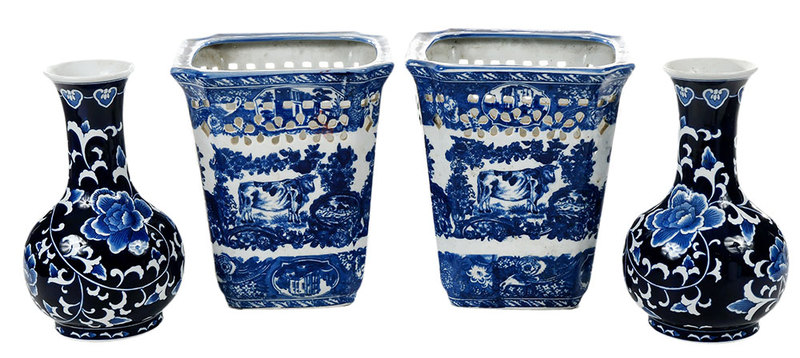 Two Pairs Blue and White Porcelain Objects