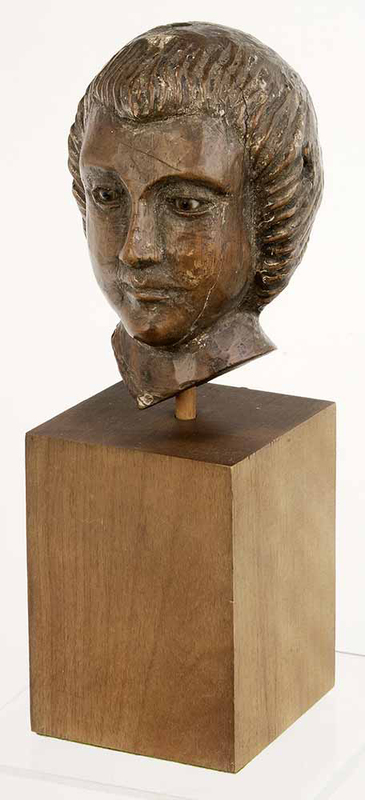 Carved Wooden Bust of Saint