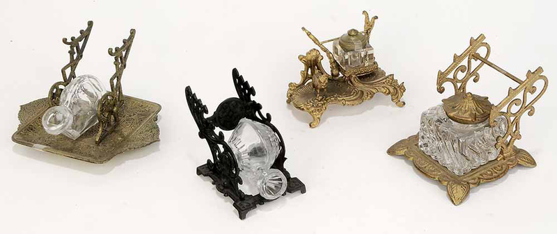 Group Four Metal and Glass Inkwells