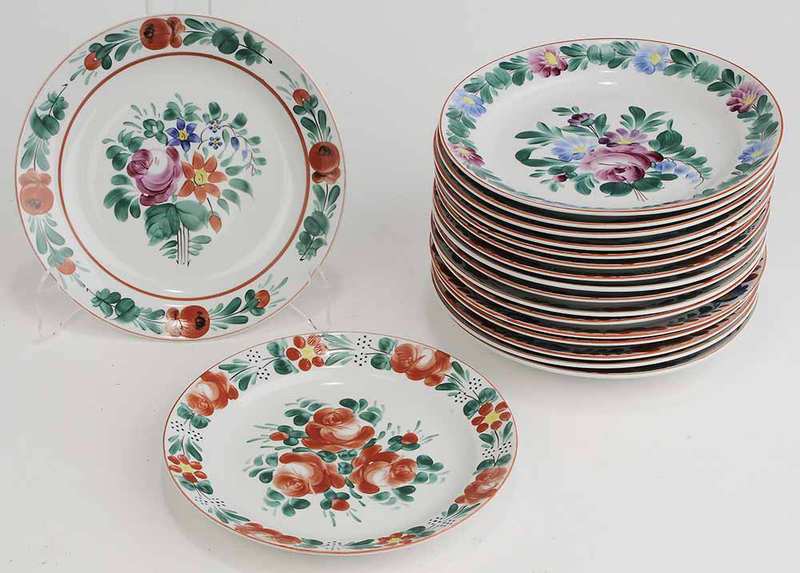 Set of Eighteen Hand Painted Plates