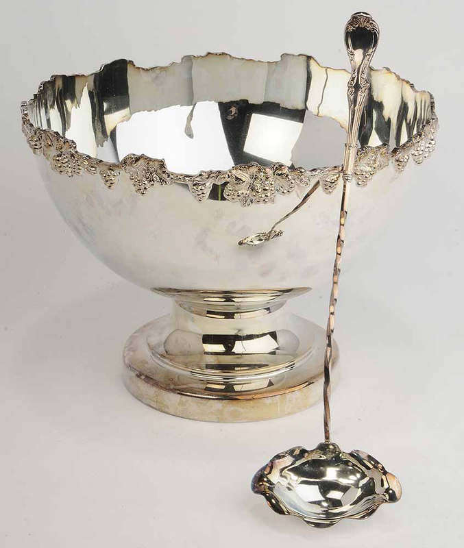 Silver-Plate Punch Bowl and Ladle