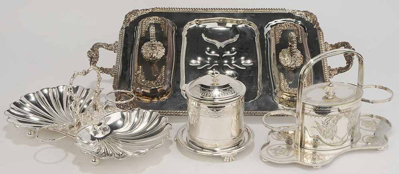 Four Silver-Plate Table Items
