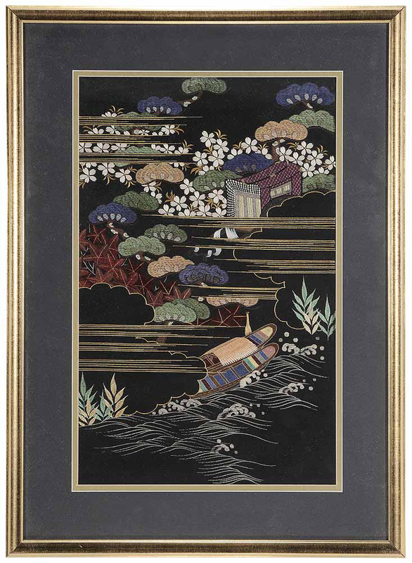 Finely Embroidered Silk Landscape