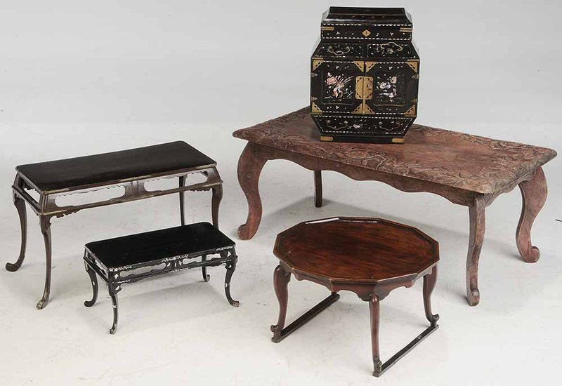 Asian Small Chest, Three Asian Stands, and One Cocktail Table