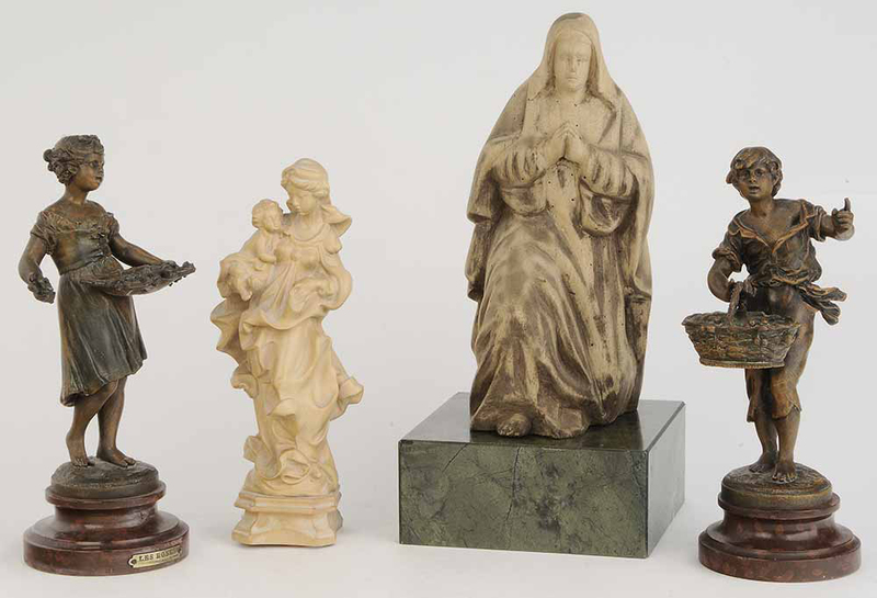 Group of Four Figures Wood and Metal