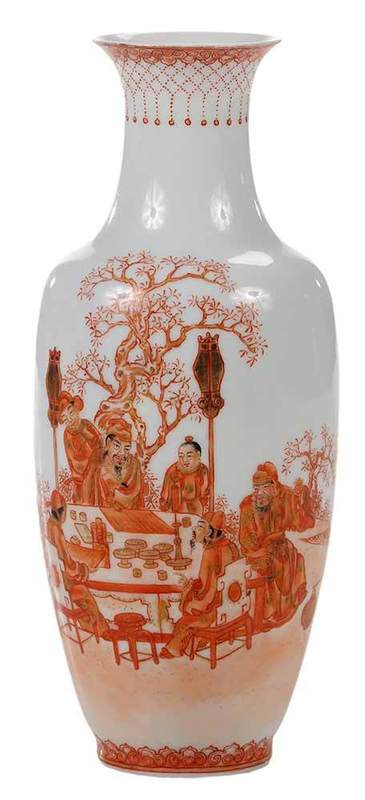 Chinese Egg Shell Porcelain Vase With Scholars