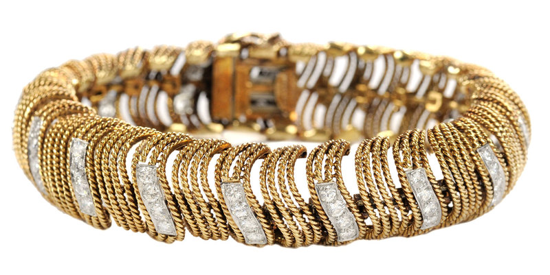 David Webb 18 Karat Gold, Platinum and Diamond Bracelet*