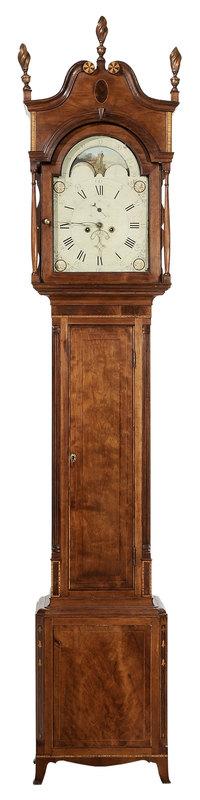 Fine Virginia Federal Inlaid Cherry Tall Case Clock