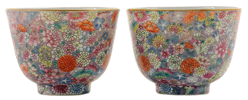 Pair Famille Rose Millefleurs Cups