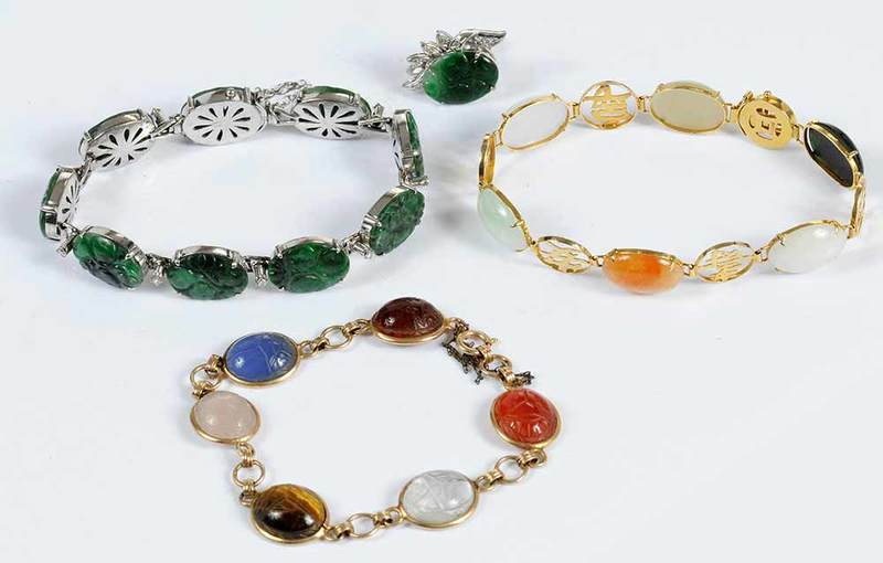 Four Pieces Gold & Gemstone Jewelry