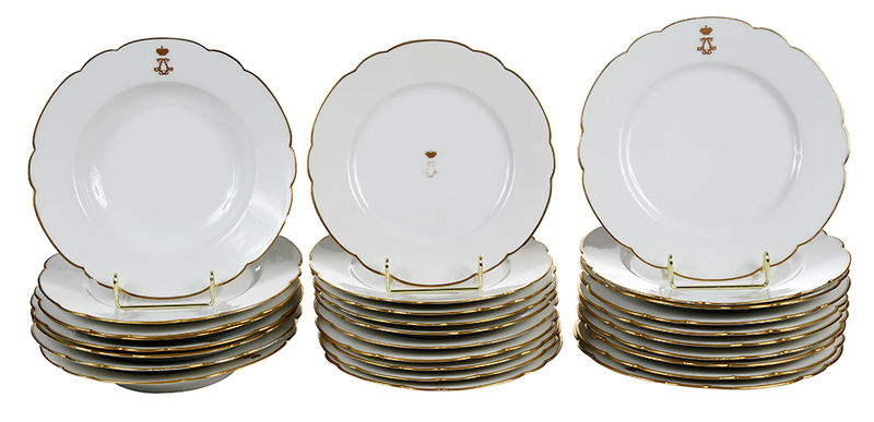 28 Pieces Gold Rimmed and Gilt Decorated China