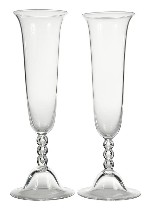 Pair Steuben Glass Trumpet Vases