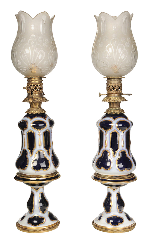 Pair Cobalt Blue Lamps with Shades
