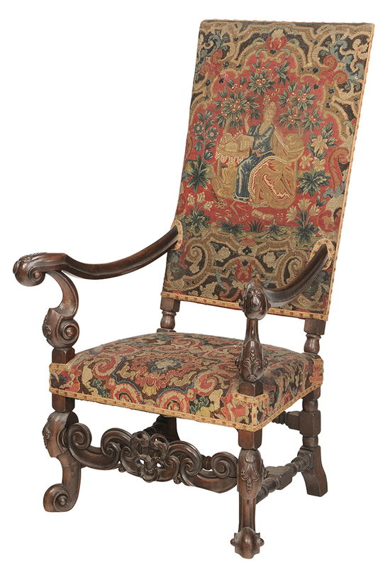 Flemish, Baroque Style Tapestry Open Arm Chair