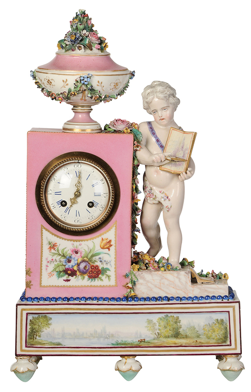Porcelain Mantel Clock with Putti and Flowers